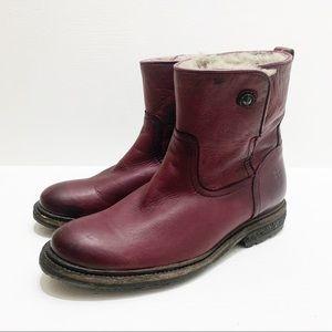 FRYE   Mara Button Short Shearling Boots